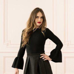 NEW Rachel Parcell Bell Sleeve Sweater Shirt Black